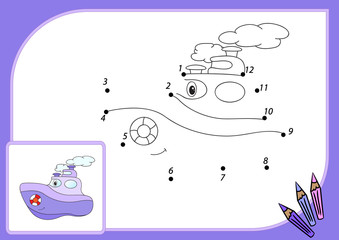 Funny cartoon steamship. Connect dots and get image. Educational