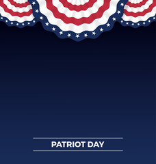 Patriot day, web banner and background design with wavy flag. Vector illustration