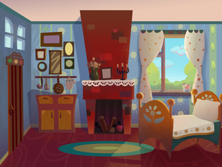 Granny's room drawn in cartoon style. Interior design of an old house. Digital background raster illustration.