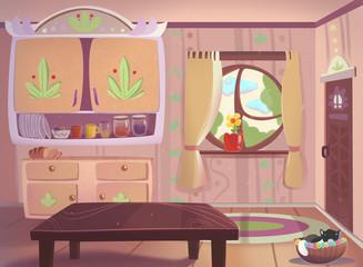 Living room drawn in cartoon style raster illustration.