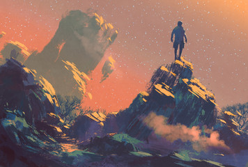 Deurstickers Koraal man standing on top of the hill watching the stars,illustration painting