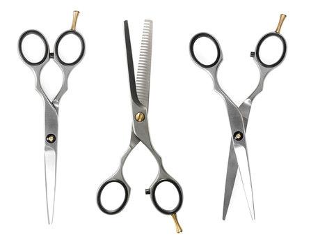 Set of hairdressing scissors