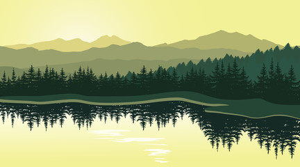 Beautiful mountain landscape with reflection in the lake. Vector illustration.
