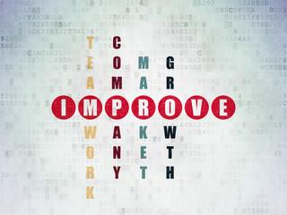Finance concept: word Improve in solving Crossword Puzzle