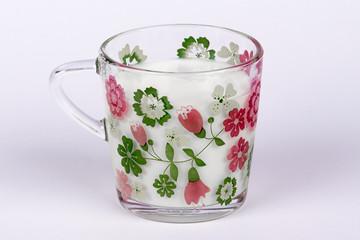 Milk in a glass mug