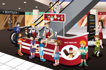 Kids Waiting in Line for Ice Cream