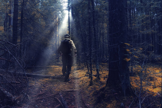 ranger in autumn forest forester guide