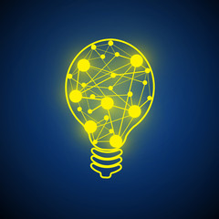 Vector : Lightbulb and circle network circle on blue background