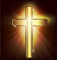 Vector Christianity symbol golden Cross