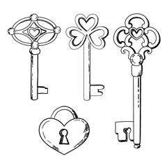 keys illustration in vector. Black and white