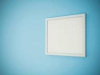 Blank white frame on light blue wall background