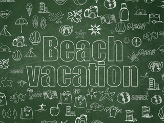 Travel concept: Beach Vacation on School Board background