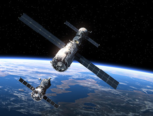 Fotobehang - Spacecraft And Space Station