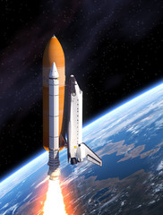 Fototapete - Space Shuttle Takes Off