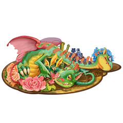 Dragon with two heads who loves flowers