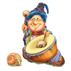 Elf with a snail plays a drum.