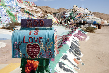 Pieces of the display at Salvation Mountain, an art installation in Niland California, built by Leonard Knight.