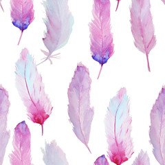 Watercolor pattern with feathers