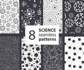 Vector Science Molecules Textures 8 Set Seamless Patterns. Atoms