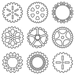 Silhouette of mechanical Cogs and Gear Wheel Set