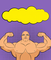 Bodybuilder pop art with bubble. Vector illustration for retro c