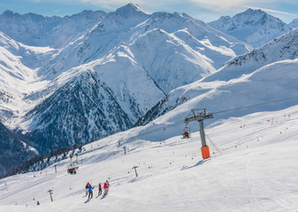 View of skiing resort in Alps. Livigno, Italy