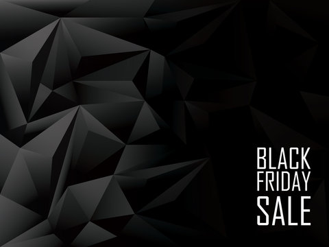 Black friday sale polygonal background. Shopping discounts