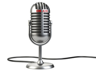 """Retro style microphone with """"on air"""" sign"""