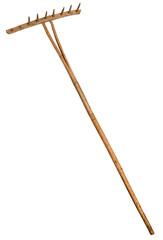 Garden rake isolated on white.  Vintage Retro Wooden Rake Handmade