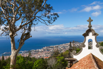 View of Funchal from the Monte. Chapel de la quinta do Monte in foreground,  Madeira, Portugal