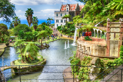 Fototapete Scenic of Monte Palace Tropical Garden. Funchal, Madeira Island, Portugal
