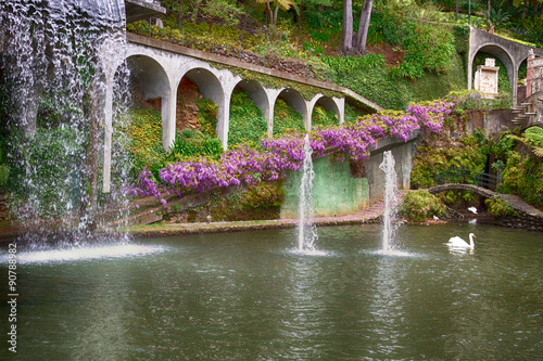 Fototapete Lake with waterfall in Tropical Garden Monte Palace. Funchal, Madeira, Portugal