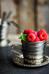 Closeup of fresh raspberries
