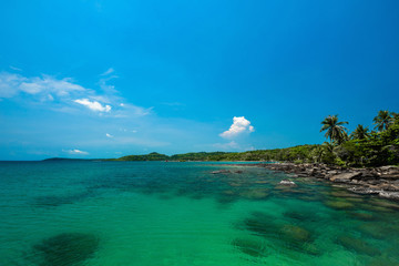 Fototapete - Reef and shallow beach at Koh Kood Island,Thailand