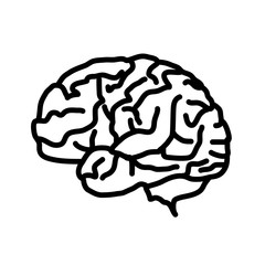 Brain icon isolated on white background.