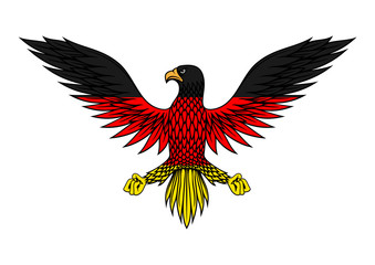German eagle bird in flag colors