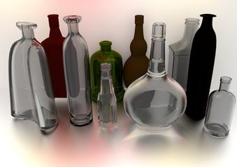 bottles on gray