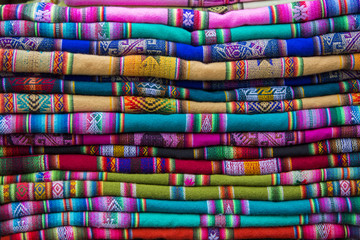 Background of colored fabrics from Indian ethnic market