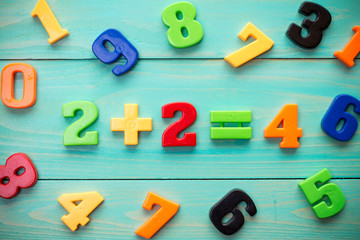 Plastic numbers with math example in a middle
