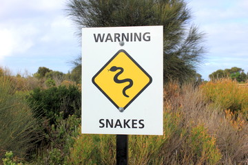 Snakes warning sign in bushland in Victoria, Australia