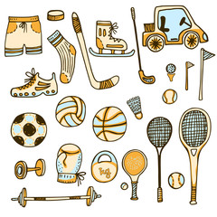 doodle set of sports equipment. hand drawn vector illistration