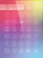 Set of icons for web and user interface design on blurred background