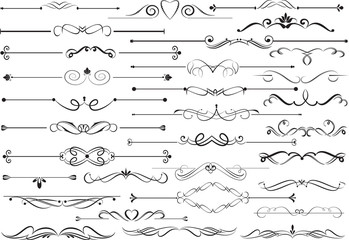 Set of decorative calligraphic elements for editable and design.