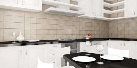 Modern interior of the kitchen rendering
