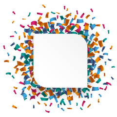 White Round Rectangle Confetti