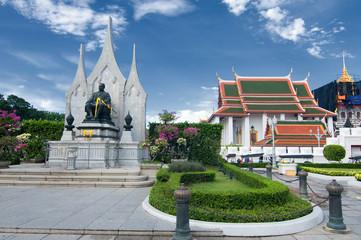 Thai architecture: Wat Ratchanadda, Loha Prasat and Traditional Thai pavilion, Bangkok, Thailand.