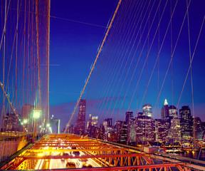Famous Place Brooklyn Bridge Downtown District Concept