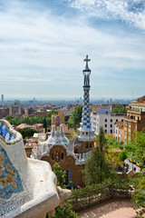 Overview of Parc Guell, Barcelona, Spain