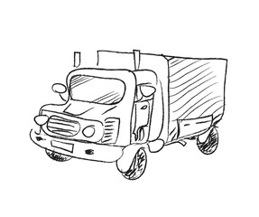 Truck Doodle, a hand drawn vector doodle illustration of a truck.