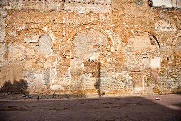 Exterior of Old Brick Building, Barcelona, Spain